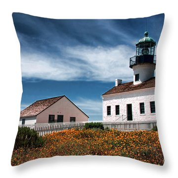 The Old Point Loma Lighthouse By Diana Sainz Throw Pillow