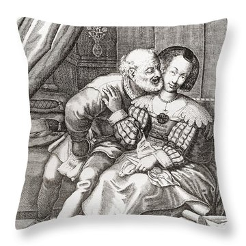 The Old Prurient, After A 16th Century French Engraving By Jaspar Isaac.   From Illustrierte Throw Pillow