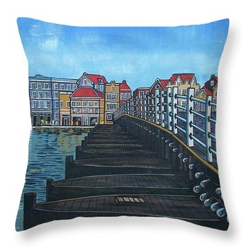 The Old Queen Emma Bridge In Curacao Throw Pillow