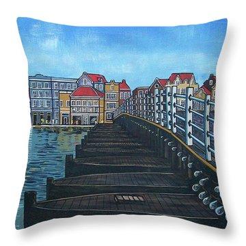 The Old Queen Emma Bridge In Curacao Throw Pillow