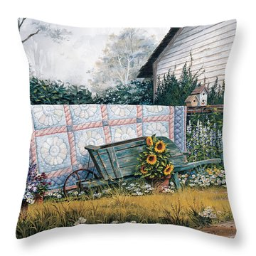 The Old Quilt Throw Pillow