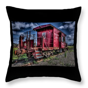 Throw Pillow featuring the photograph Old Red Caboose by Thom Zehrfeld