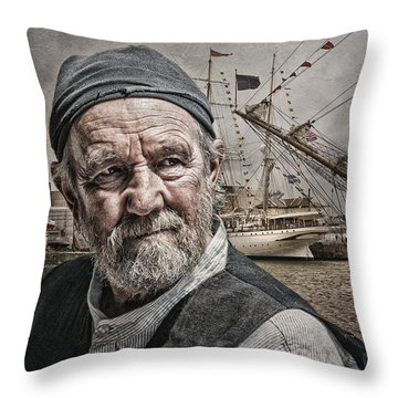 The Old Salt Throw Pillow by Brian Tarr