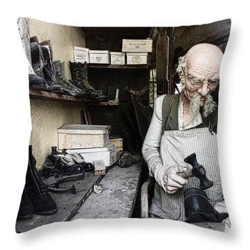 The Old Shoe Cobbler Throw Pillow