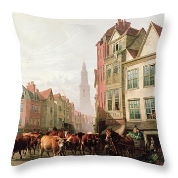 The Old Smithfield Market Throw Pillow by Thomas Sidney Cooper