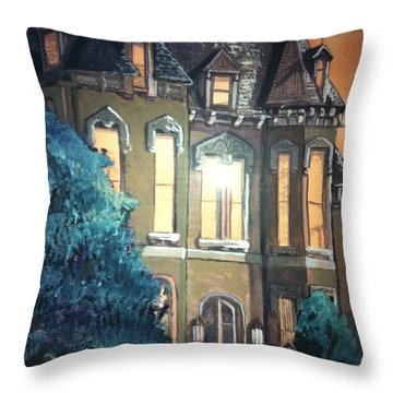 The Old Stegmeier Mansion Throw Pillow