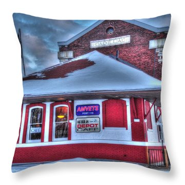 The Old Train Station Throw Pillow by Terri Gostola
