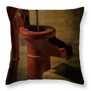 The Old Water Pump Throw Pillow by Lena Wilhite