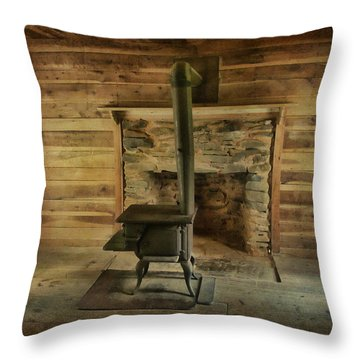Throw Pillow featuring the photograph The Old Wood Stove by Victor Montgomery