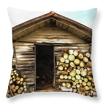 The Old Woodshed Throw Pillow by Marion Johnson