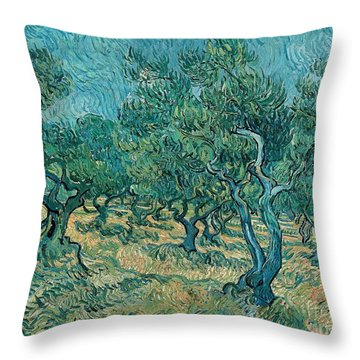 The Olive Grove Throw Pillow by Vincent van Gogh