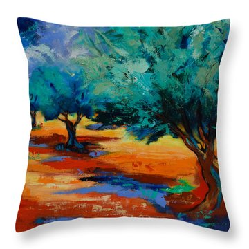 The Olive Trees Dance Throw Pillow