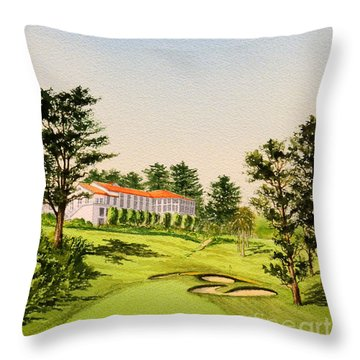 Throw Pillow featuring the painting The Olympic Golf Club - 18th Hole by Bill Holkham