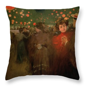 The Open Air Party Throw Pillow by Ramon Casas i Carbo