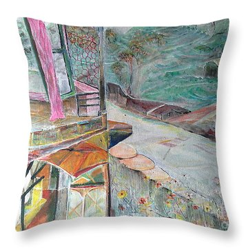 The Open Window Of The Tea Garden Cottage Throw Pillow