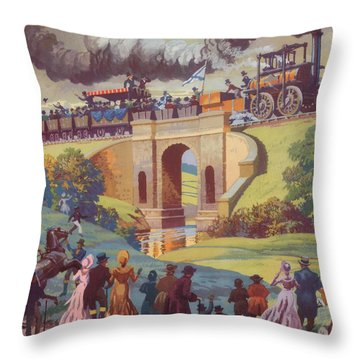 The Opening Of The Stockton And Darlington Railway Macmillan Poster Throw Pillow by Norman Howard
