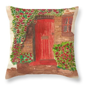 Throw Pillow featuring the painting The Orange Door by Tracey Williams