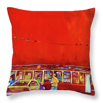 The Orange Julep Montreal Summer City Scene Throw Pillow