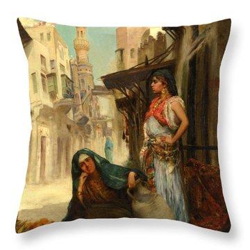 The Orange Seller Throw Pillow by Fabbio Fabbi