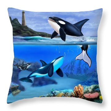 The Orca Family Throw Pillow