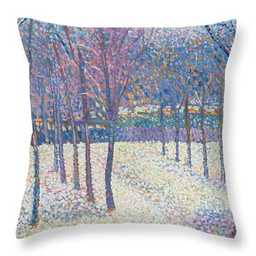 The Orchard Under The Snow  Throw Pillow by Hippolyte Petitjean