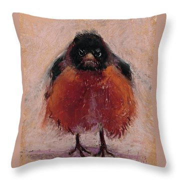 The Original Angry Bird Throw Pillow by Billie Colson