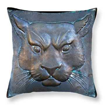 The Original Todd Hall Cougar Door Pulls - Washington State University Throw Pillow