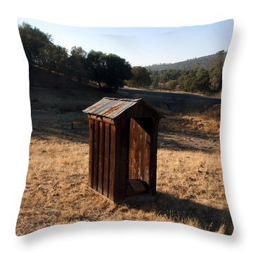 The Outhouse Throw Pillow by Richard Reeve