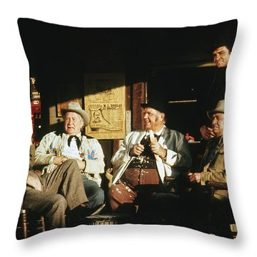 Throw Pillow featuring the photograph The Over The Hill Gang  Johnny Cash Porch Old Tucson Arizona 1971 by David Lee Guss