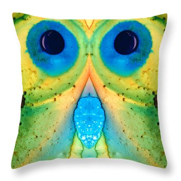 The Owl - Abstract Bird Art By Sharon Cummings Throw Pillow by Sharon Cummings