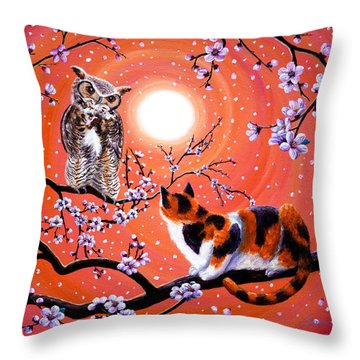 The Owl And The Pussycat In Peach Blossoms Throw Pillow
