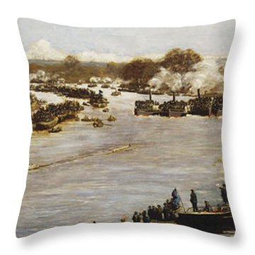 The Oxford And Cambridge Boat Race Throw Pillow by James Macbeth