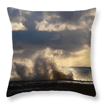 The Pacific Calms Down Throw Pillow by Joe Schofield