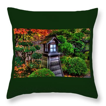 Throw Pillow featuring the photograph The Pagoda At The Japanese Gardens by Thom Zehrfeld