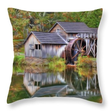 The Painted Mill Throw Pillow
