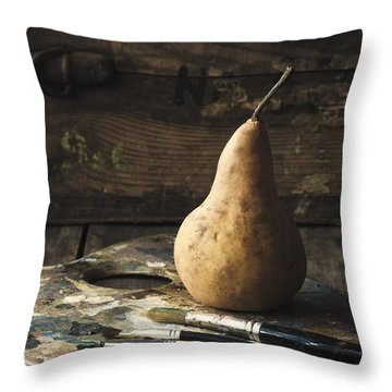 The Painter's Pear Throw Pillow