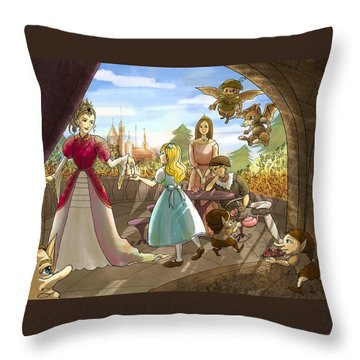 Throw Pillow featuring the painting The Palace Balcony by Reynold Jay