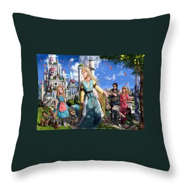 Throw Pillow featuring the painting The Palace Garden  by Reynold Jay