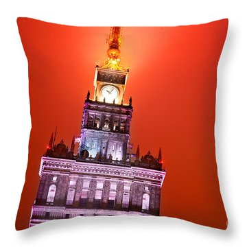 The Palace Of Culture And Science Warsaw Poland  Throw Pillow by Michal Bednarek