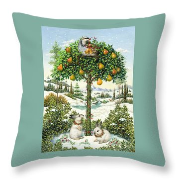 The Partridge In A Pear Tree Throw Pillow by Lynn Bywaters