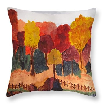 Throw Pillow featuring the painting The Pasture In Autumn by Sandy McIntire