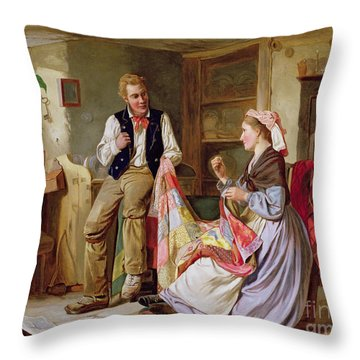 The Patchwork Quilt Throw Pillow by William Henry Midwood