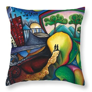 The Path Between City And Country Throw Pillow by Tiffany Davis-Rustam