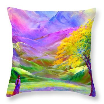 Misty Mountains, Fall Color And Aspens Throw Pillow by Jane Small
