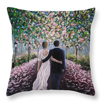 Throw Pillow featuring the painting The Path Of Love  by Vesna Martinjak