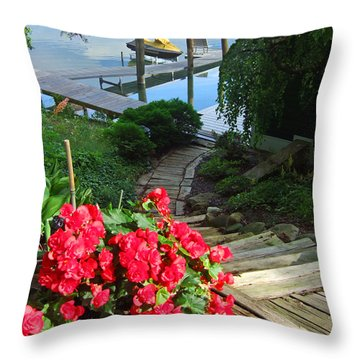 The Path To Lake Charlevoix Throw Pillow