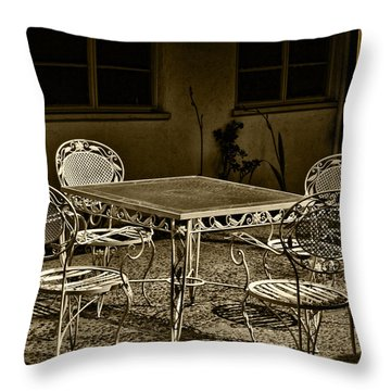 The Patio Throw Pillow by Camille Lopez