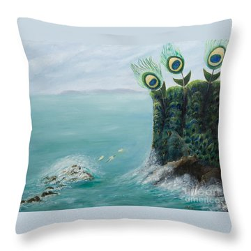 The Peacock Cliffs Throw Pillow