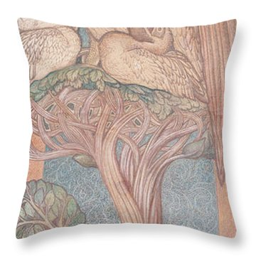 The Pelican, Cartoon For Stained Glass For The William Morris Company, 1880 Coloured Chalk On Paper Throw Pillow