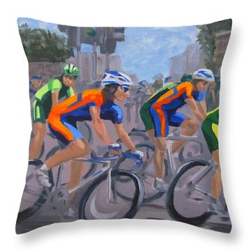 Throw Pillow featuring the painting The Peloton by Karen Ilari